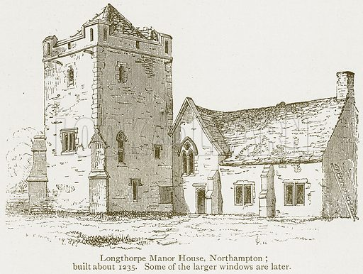 Longthorpe Manor House, Northampton; Built about 1235. Some of the large Windows are later. Illustration from A Student's History of England by Samuel R Gardiner (Longmans, 1902).