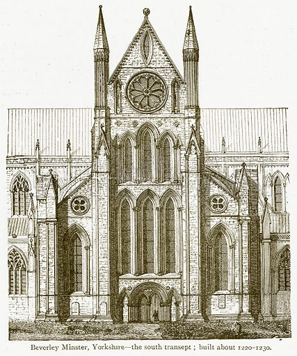 Beverley Minster, Yorkshire – The South Transept; Built about 1220–1230. Illustration from A Student's History of England by Samuel R Gardiner (Longmans, 1902).