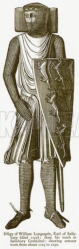 Effigy of William Longespee, Earl of Salisbury (Died 1227). Illustration from A Student's History of England by Samuel R Gardiner (Longmans, 1902).