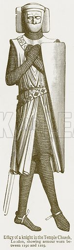 Effigy of a Knight in the Temple Church, London, showing Armour Worn between 1190 and 1225. Illustration from A Student's History of England by Samuel R Gardiner (Longmans, 1902).