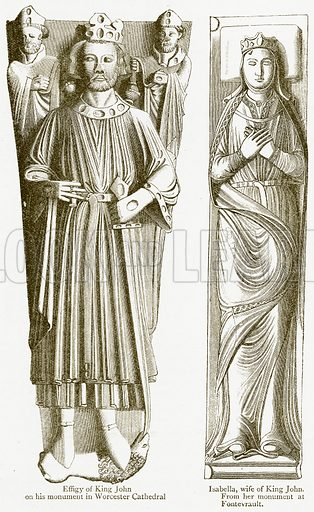 Effigy of King John on his Monument in Worcester Cathedral. Isabella, Wife of King John. Illustration from A Student's History of England by Samuel R Gardiner (Longmans, 1902).