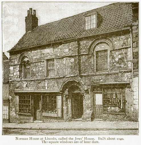 Norman House at Lincoln, called the Jews' House. Built about 1140. The Square Windows are of later Date. Illustration from A Student's History of England by Samuel R Gardiner (Longmans, 1902).