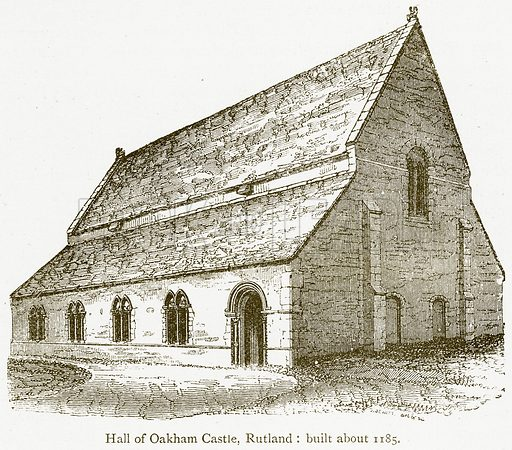 Hall of Oakham Castle, Rutland: Built about 1185. Illustration from A Student's History of England by Samuel R Gardiner (Longmans, 1902).