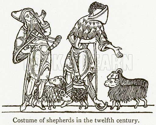 Costume of Shepherds in the Twelfth Century. Illustration from A Student's History of England by Samuel R Gardiner (Longmans, 1902).