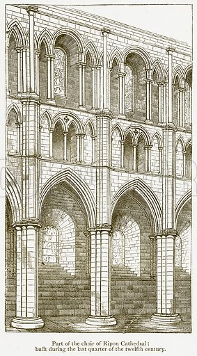 Part of the Choir of Ripon Cathedral: Built during the last Quarter of the Twelfth Century. Illustration from A Student's History of England by Samuel R Gardiner (Longmans, 1902).