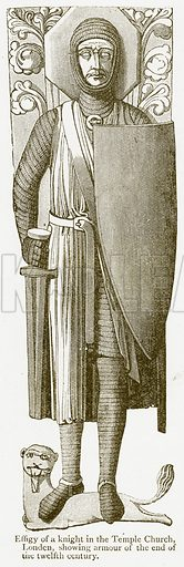 Effigy of a Knight in the Temple Church, London, showing Armour of the End of the Twelfth Century. Illustration from A Student's History of England by Samuel R Gardiner (Longmans, 1902).