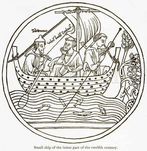 Small Ship of the Latter Part of the Twelfth Century. Illustration from A Student's History of England by Samuel R Gardiner (Longmans, 1902).
