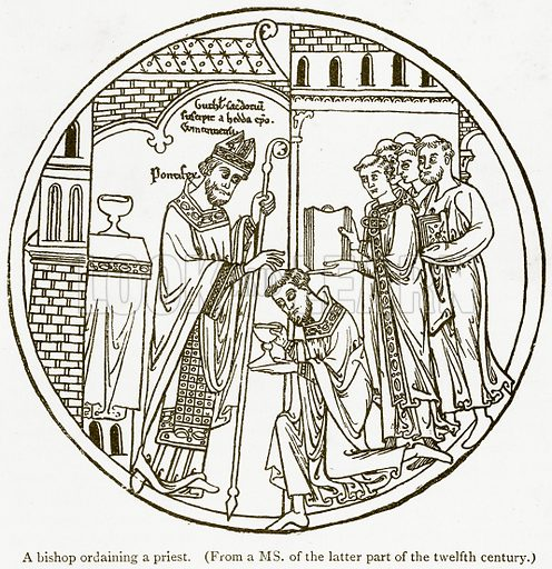 A Bishop Ordaining a Priest. Illustration from A Student's History of England by Samuel R Gardiner (Longmans, 1902).