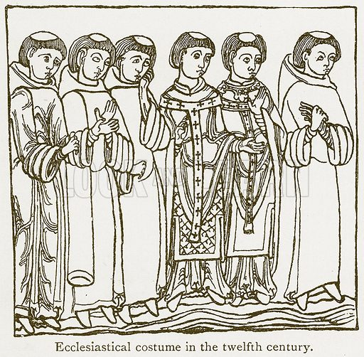 Ecclesiastical Costume in the Twelfth Century. Illustration from A Student's History of England by Samuel R Gardiner (Longmans, 1902).