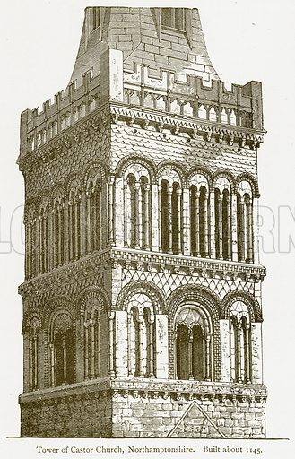 Tower of Castor Church, Northamptonshire. Built about 1145. Illustration from A Student's History of England by Samuel R Gardiner (Longmans, 1902).