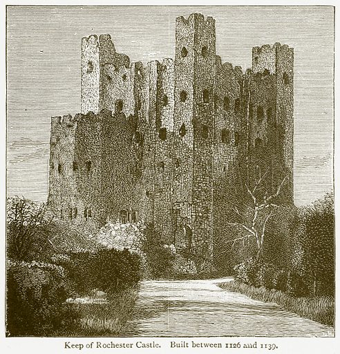 Keep of Rochester Castle. Built between 1126 and 1139. Illustration from A Student's History of England by Samuel R Gardiner (Longmans, 1902).
