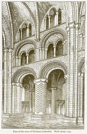 Part of the Nave of Durham Cathedral. Built about 1130. Illustration from A Student's History of England by Samuel R Gardiner (Longmans, 1902).