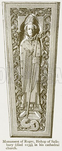 Monument of Roger, Bishop of Salisbury (Died 1139), in his Cathedral Church. Illustration from A Student's History of England by Samuel R Gardiner (Longmans, 1902).