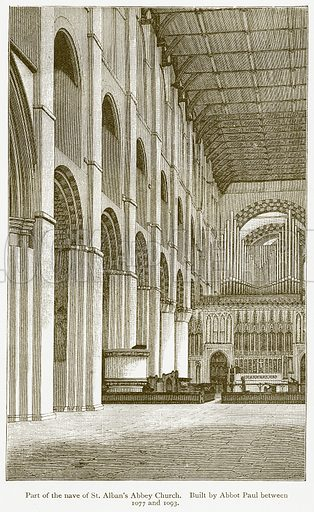 Part of the Nave of St Alban's Abbey Church. Built by Abbot Paul between 1077 and 1093. Illustration from A Student's History of England by Samuel R Gardiner (Longmans, 1902).