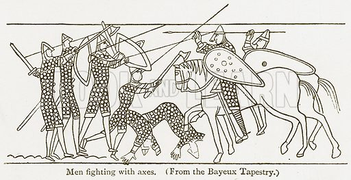 Men Fighting with Axes. Illustration from A Student's History of England by Samuel R Gardiner (Longmans, 1902).