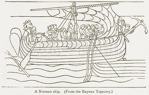 A Norman Ship. Illustration from A Student's History of England by Samuel R Gardiner (Longmans, 1902).