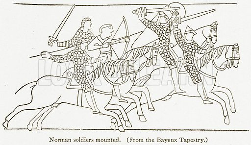 Norman Soldiers Mounted. Illustration from A Student's History of England by Samuel R Gardiner (Longmans, 1902).
