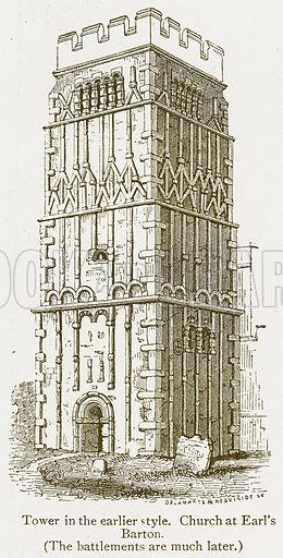 Tower in the Earlier Style. Church at Earl's Barton. Illustration from A Student's History of England by Samuel R Gardiner (Longmans, 1902).