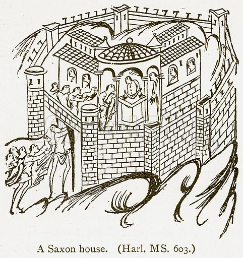 A Saxon House. Illustration from A Student's History of England by Samuel R Gardiner (Longmans, 1902).
