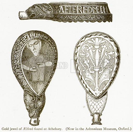 Gold Jewel of Aelfred found at Athelney. Illustration from A Student's History of England by Samuel R Gardiner (Longmans, 1902).