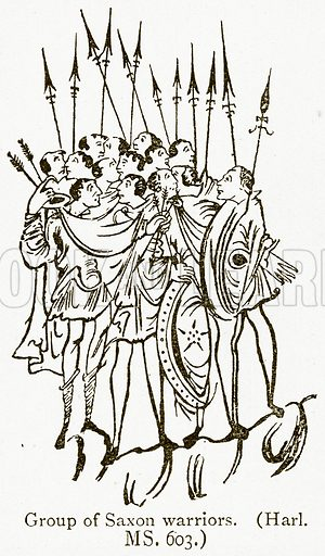 Group of Saxon Warriors. Illustration from A Student's History of England by Samuel R Gardiner (Longmans, 1902).