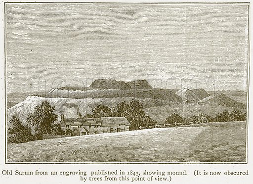 Old Sarum from an Engraving Published in 1843, showing Mound. Illustration from A Student's History of England by Samuel R Gardiner (Longmans, 1902).