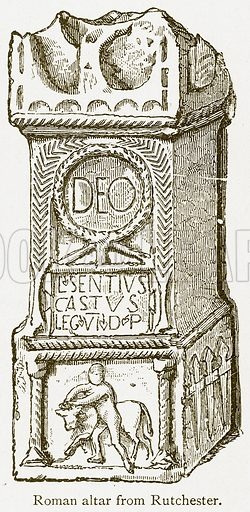 Roman Altar from Rutchester. Illustration from A Student's History of England by Samuel R Gardiner (Longmans, 1902).