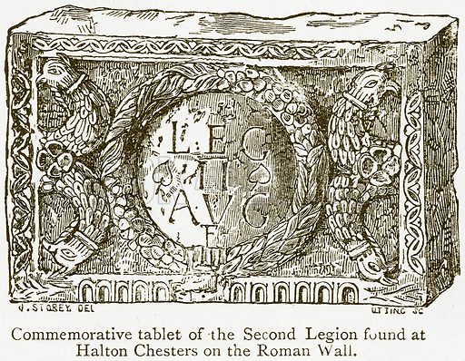 Commemorative Tablet of the Second Legion found at Halton Chesters on the Roman Wall. Illustration from A Student's History of England by Samuel R Gardiner (Longmans, 1902).