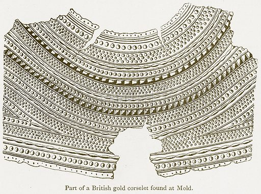 Part of a British Gold Corselet found at Mold. Illustration from A Student's History of England by Samuel R Gardiner (Longmans, 1902).