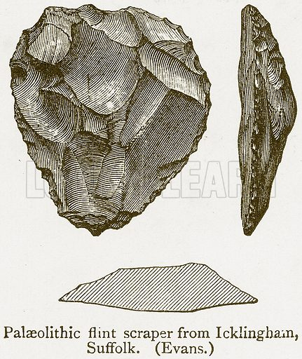 Palaeolithic Flint Scraper from Icklingham, Suffolk. (Evans.) Illustration from A Student's History of England by Samuel R Gardiner (Longmans, 1902).