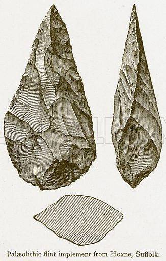 Palaelithic Flint Implement from Hoxne, Suffolk. Illustration from A Student's History of England by Samuel R Gardiner (Longmans, 1902).