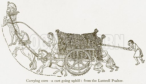 Carrying Corn – A Cart going Uphill. Illustration from A Student's History of England by Samuel R Gardiner (Longmans, 1902).