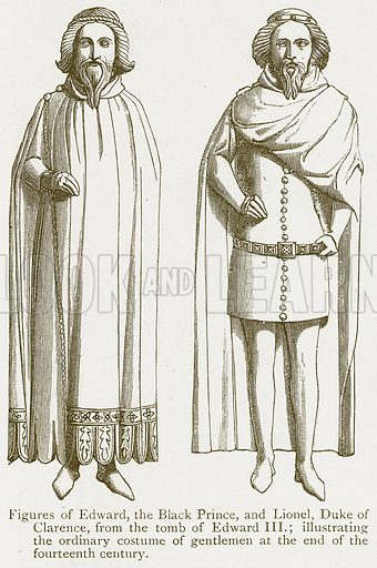 Figures of Edward, the Black Prince, and Lionel, Duke of Clarence. Illustration from A Student's History of England by Samuel R Gardiner (Longmans, 1902).
