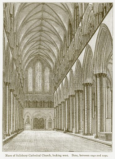 Nave of Salisbury Cathedral Church, looking West. Date, between 1240 and 1250. Illustration from A Student's History of England by Samuel R Gardiner (Longmans, 1902).