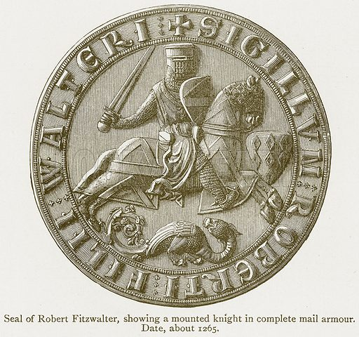 Seal of Robert Fitzwalter, showing a Mounted Knight in complete Mail Armour. Date, about 1265. Illustration from A Student's History of England by Samuel R Gardiner (Longmans, 1902).