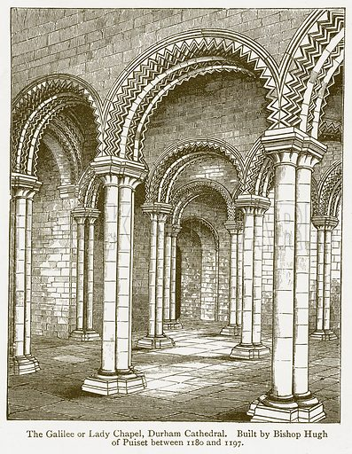 The Galilee or Lady Chapel, Durham Cathedral. Built by Bishop Hugh of Puiset between 1180 and 1197. Illustration from A Student's History of England by Samuel R Gardiner (Longmans, 1902).