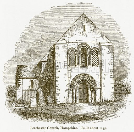 Porchester Church, Hampshire. Built about 1135. Illustration from A Student's History of England by Samuel R Gardiner (Longmans, 1902).