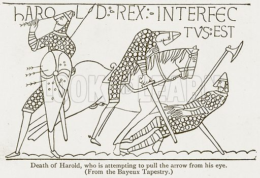 Death of Harold, who is attempting to pull the Arrow from his Eye. Illustration from A Student's History of England by Samuel R Gardiner (Longmans, 1902).