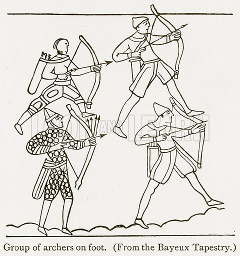Group of Archers on Foot. Illustration from A Student's History of England by Samuel R Gardiner (Longmans, 1902).