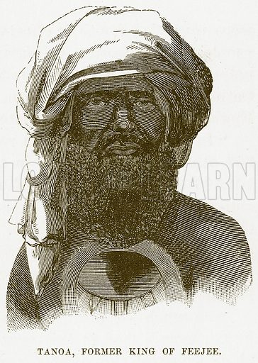 Tanoa, Former King of Feejee. Illustration for Boy Travellers in Australasia by Thomas Knox (Harper, 1889).
