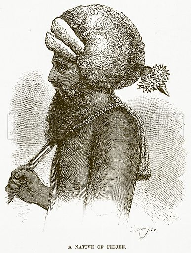 A Native of Feejee. Illustration for Boy Travellers in Australasia by Thomas Knox (Harper, 1889).