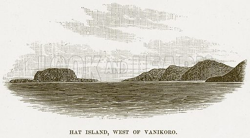Hat Island, West of Vanikoro. Illustration for Boy Travellers in Australasia by Thomas Knox (Harper, 1889).