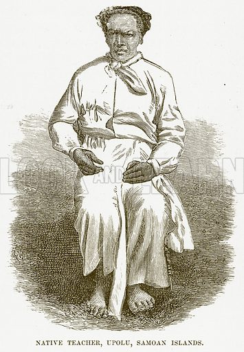Native Teacher, Upolu, Samoan Islands. Illustration for Boy Travellers in Australasia by Thomas Knox (Harper, 1889).