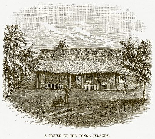 A House in the Tonga Islands. Illustration for Boy Travellers in Australasia by Thomas Knox (Harper, 1889).