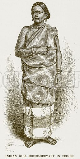 Indian Girl House-Servant in Feejee. Illustration for Boy Travellers in Australasia by Thomas Knox (Harper, 1889).