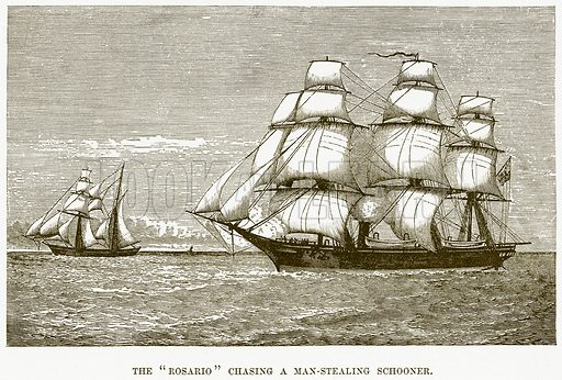 """The """"Rosario"""" Chasing a Man-Stealing Schooner. Illustration for Boy Travellers in Australasia by Thomas Knox (Harper, 1889)."""