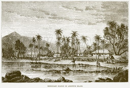Missionary Station on Aneityum Island. Illustration for Boy Travellers in Australasia by Thomas Knox (Harper, 1889).