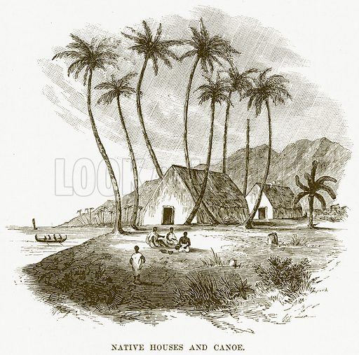 Native Houses and Canoe. Illustration for Boy Travellers in Australasia by Thomas Knox (Harper, 1889).