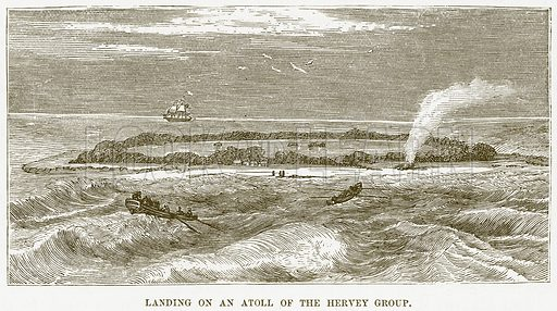 Landing on an Atoll of the Hervey Group. Illustration for Boy Travellers in Australasia by Thomas Knox (Harper, 1889).