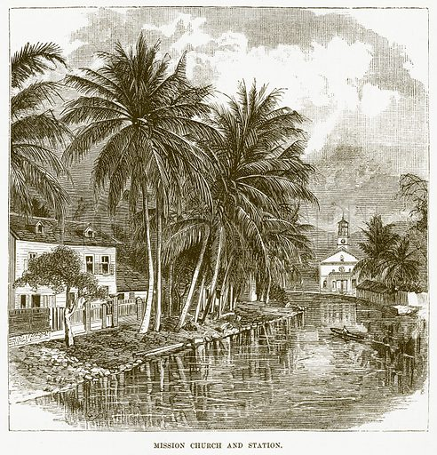 Mission Church and Station. Illustration for Boy Travellers in Australasia by Thomas Knox (Harper, 1889).